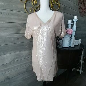 BEYOND VINTAGE SILK SEQUIN TOP
